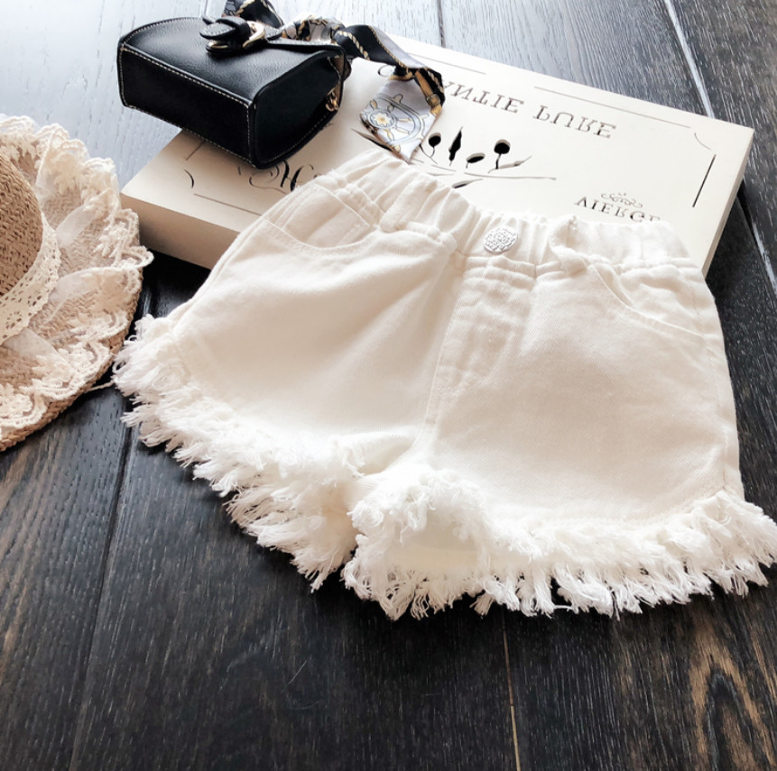 Hot Sale New Fashion Summer Girls Pants Baby Girl Clothing White Tassel Denim Shorts Jeans Children Kids Clothes Gifts