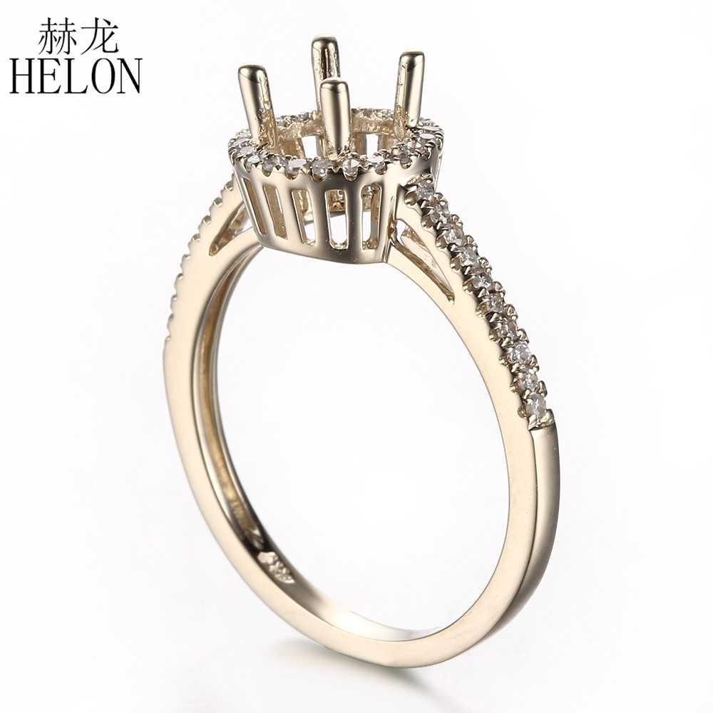 HELON 6mm Tròn Chắc Chắn 10 k Vàng Chính Hãng Kim Cương Tự Nhiên Cưới, Bán Núi Nhẫn Nữ Hợp Thời Trang Mỹ món Quà trang sức