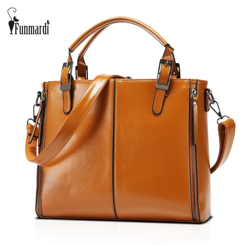 FUNMARDI Luxury Patchwork Waxy Leather Bag Classic Women Handbag Patent Leather Women Bags Large Capacity Shoulder Bag WLHB952 cgmana 100% genuine leather women handbag colorful leather patchwork shoulder bag large capacity hollow stitching luxury bag