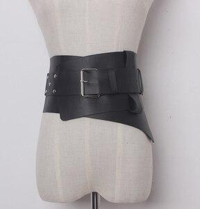 Image 4 - Nowe damskie ultra plus szerokie akcesoria do paska Faux Leather elastyczny gorset pas z przodu metalowa klamra pas biodrowy dziewczyna ubrać dekorację