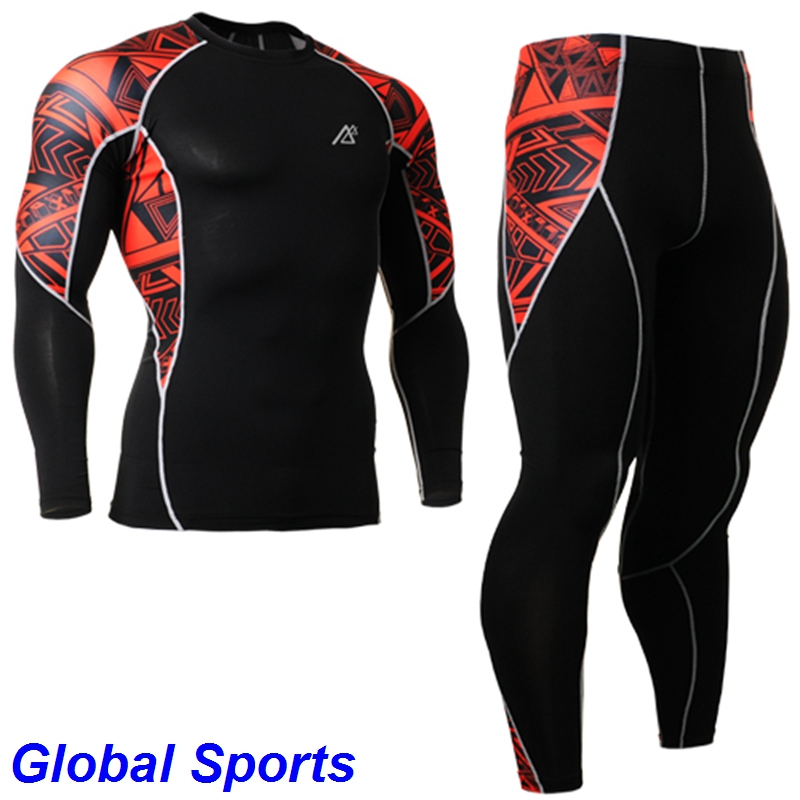 2017 Fitness Compression Base Layer Tights Set plus size mens compression shirt and pants bike cross ride cycle sets suits