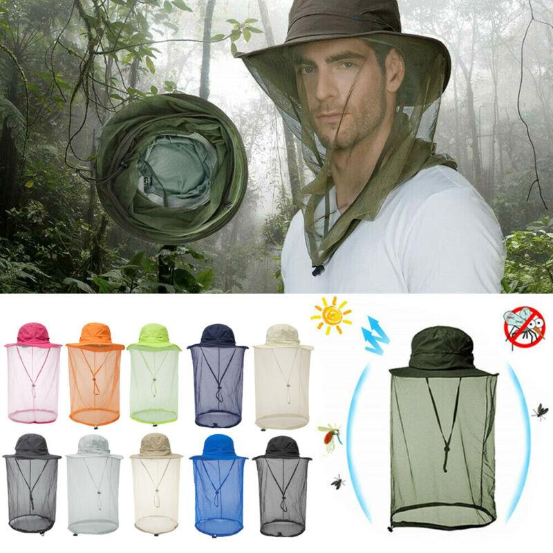 Men Women Mosquito Head Face Net Hat Mesh Protection Bug Bee Outdoor Sun Cap NEW