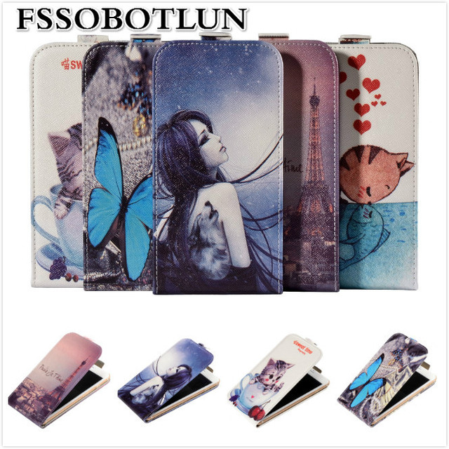 Factory price,Top quality Cartoon Painting Vertical flip PU leather mobile phone bag case For Ergo F500 Force