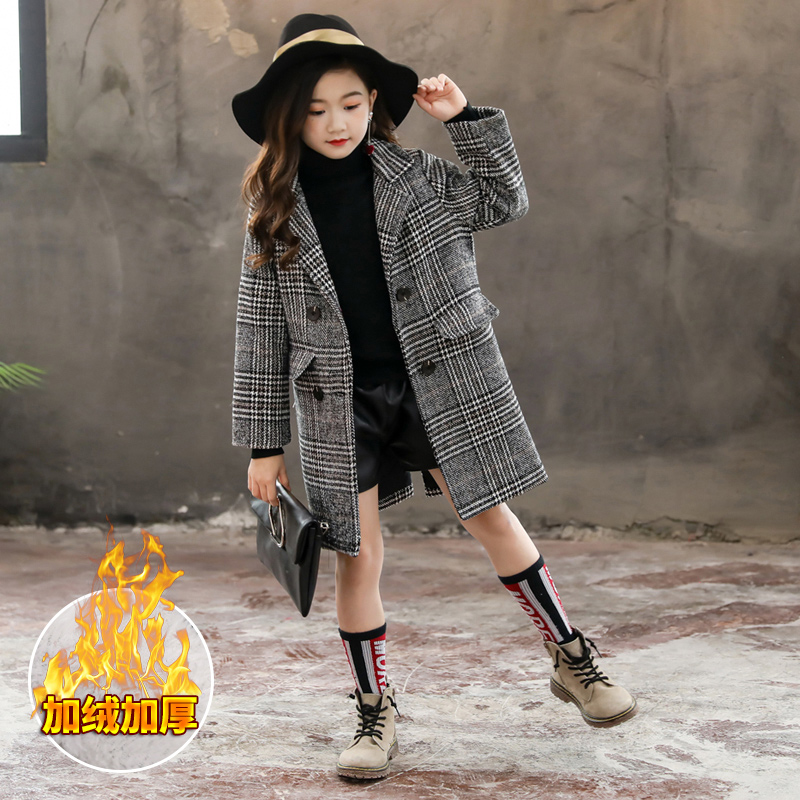 2019 New Winter Toddler Girls   Trench   Long Sleeve Coat Gray Plaid Turn-down Collar Casual Kids Thicken Jacket Outerwear Clothes
