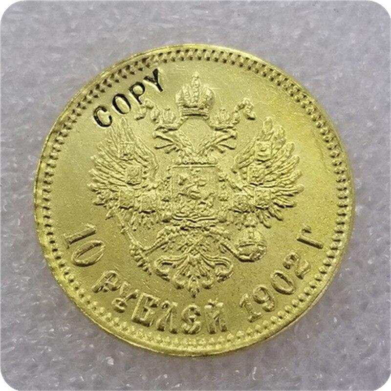 1898-1911 Россия 10 ROUBLE CZAR NICHOLAS II Золотая копия монет - Цвет: 1902