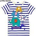 Little maven niños ropa de marca 2016 nuevo verano de los bebés de la camiseta de algodón elefante bordado a rayas tops de marca L099