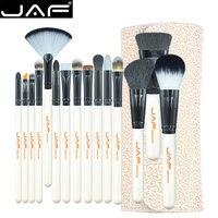 JAF Stüdyo 15-piece Makyaj Fırça Seti Süper Yumuşak Saç PU Deri Kılıf Tutucu Makyaj Fırça Seti J1504C-W