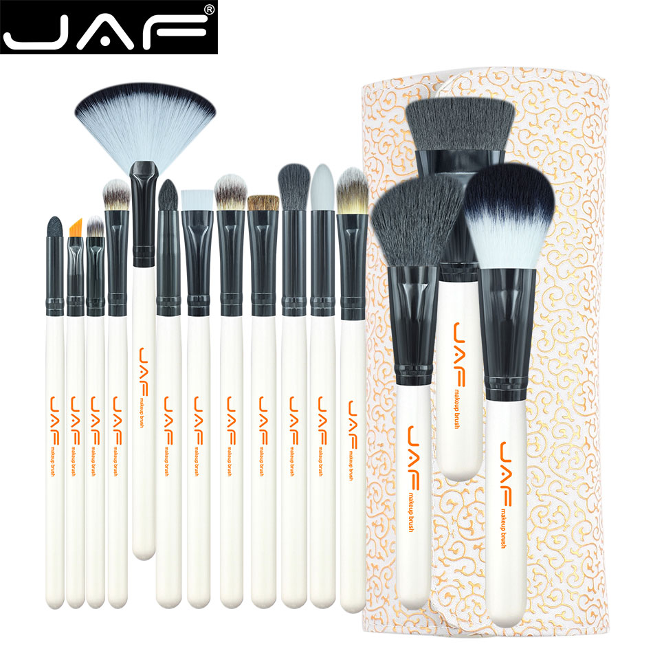 JAF Studio 15 piece Makeup Brush Kit Super Soft Hair PU Leather Case Holder Make Up