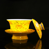 Colored Enamel Teaset Gaiwan Tea Cups Traditional Ceramic Luxury Tea Tureen Lid Bowl Saucer Kung Fu Tea Cup Best Gifts|Teaware Sets|   -
