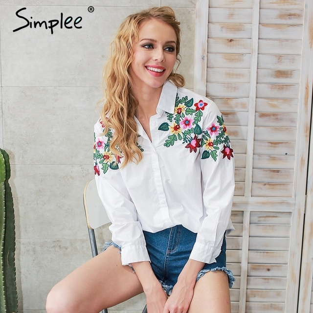 Simplee Embroidery white blouse shirt women Casual long sleeve summer blouses tops 2017 streetwear blusas
