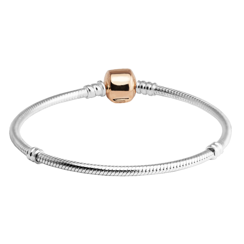 CKK Rose Round Clasp Charm Bracelet Bangle Female 925 Sterling Silver Snake Chain Bracelets For Women Silver 925 Jewelry