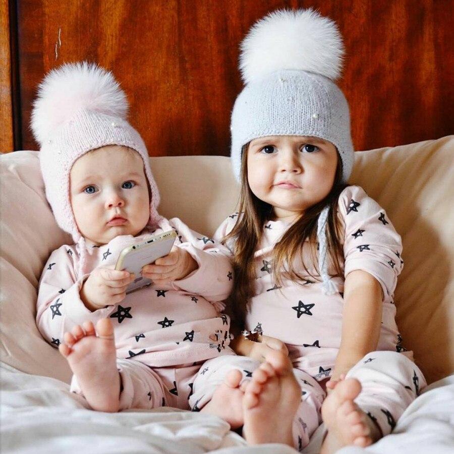 100% Wahr 2018 Nettes Kind Babys Beanies Caps Kind Häkeln Winter Warm Knit Hüte Kappe Baby Junge Mädchen Perlen Haar Ball Ohrhörer Hut Ps-26
