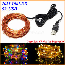 10M 33FT 100 led USB Outdoor Led Copper Wire String Lights Or Christmas Festival Wedding Party Garland Decoration Fairy Lights