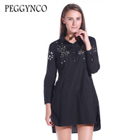 PEGGYNCO 2017 New Autumn Turn Dow Collar Long Sleeve Solid Black Loose Big Size Dress Women
