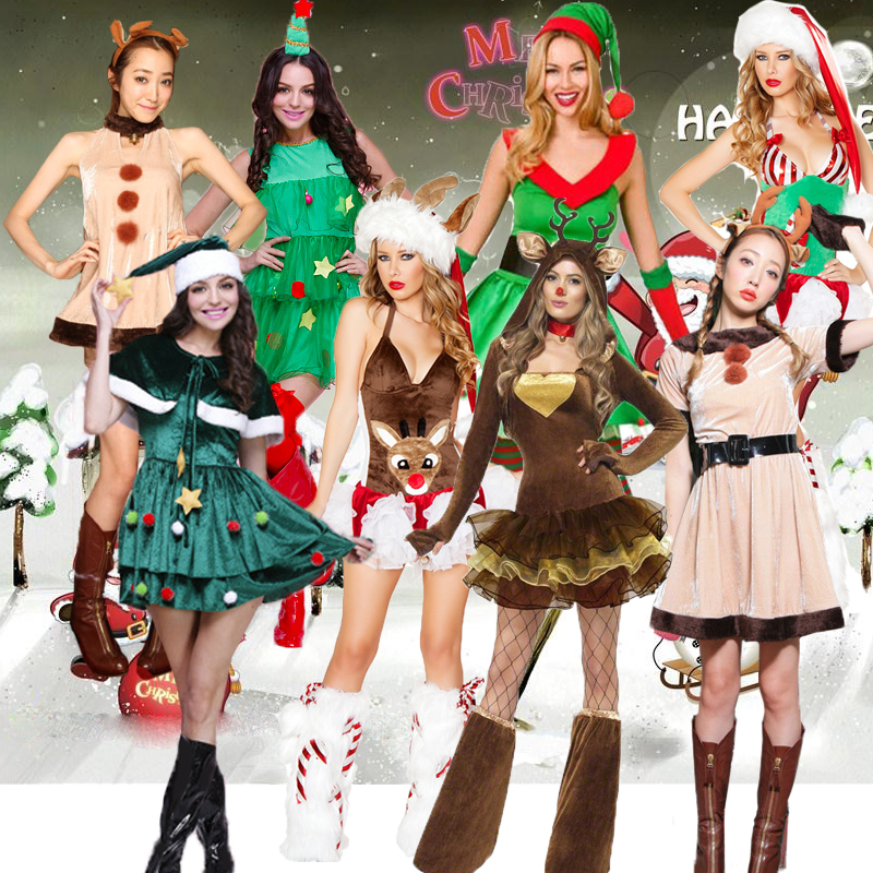 Coshome Christmas Dress Reindeer Santa Claus Elf Cosplay Costumes Christmas Tree Outfits Sexy Women Green Red Dress Cloting S