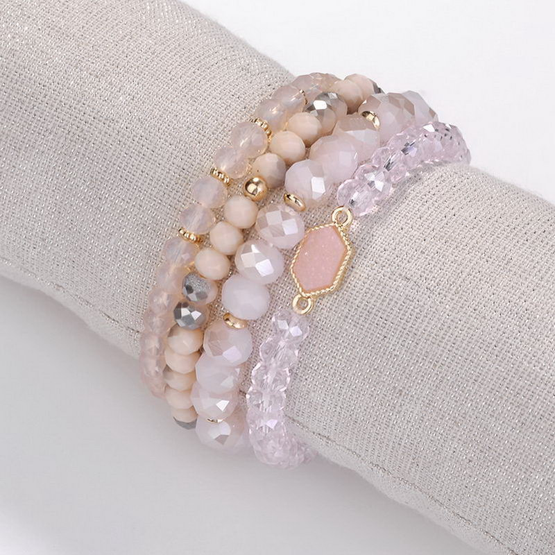 4 PCS Natural Stone Beads Charms Oval Druzy Bangles Bracelets for Women Famous Brand Jewelry Gold Stone Cuff Bracelet Wholesale