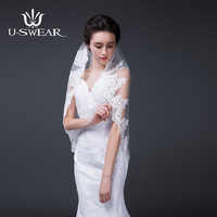 Wedding Accessories Classic Short Wedding Veil Lace Edge One Layer Bridal Veils With Comb Whit And