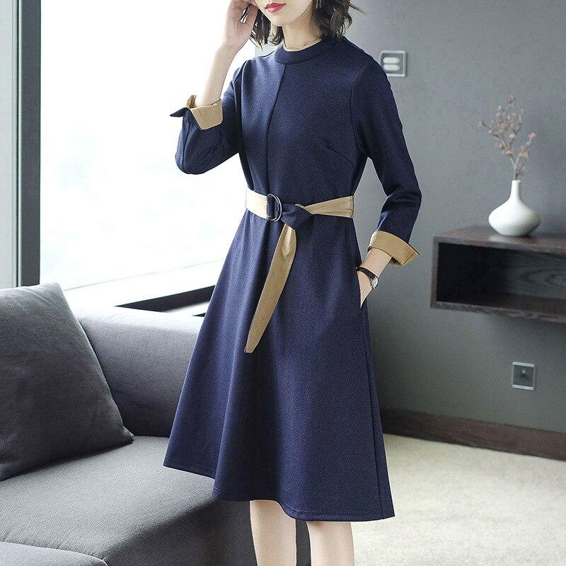 Robe Solide De Robes Chaud A Soirée 4 Blue pink O 3 Automne Mince Élégante Femmes Ceinture Mode Manches Nouveau Coréenne ligne cou 0qTU77
