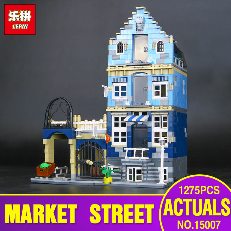 2017 New Lepin 15007 Genuine Factory City Street European Market Model Educational Building Blocks Compatible With toys 10190 new lepin 16008 cinderella princess castle city model building block kid educational toys for children gift compatible 71040