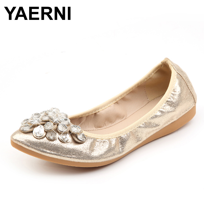 YAERNI Women Crystal Ballet Flats Size 34-43 2017 Spring Solid Gold Bling Cloth Pointed Toe Slip-On Flat Shoes Woman 2017 spring summer new women casual pointed toe loafers flats ballet ballerina flat shoes plus size 34 43