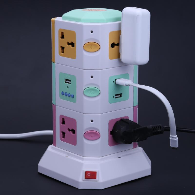 3 couche Universelle Intelligente Prise Électrique Vertical Puissance Prise de Courant Avec Interrupteur Indépendant LED Lumières MP3 jouer + 2 USB ports - 6