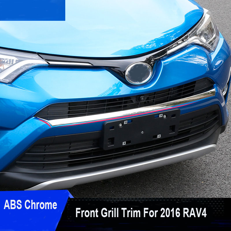 ФОТО 1pc set ABS Chrome Front Grill Garnish Trim For 2016 Toyota Rav4 Rav 4 Styling Car Accessories