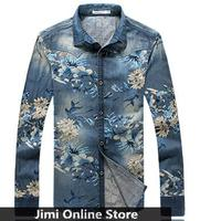 Shirt Good Quality 2015 Long Sleeve Denim Shirt Men Vintage Floral Print Casual Men S Shirt