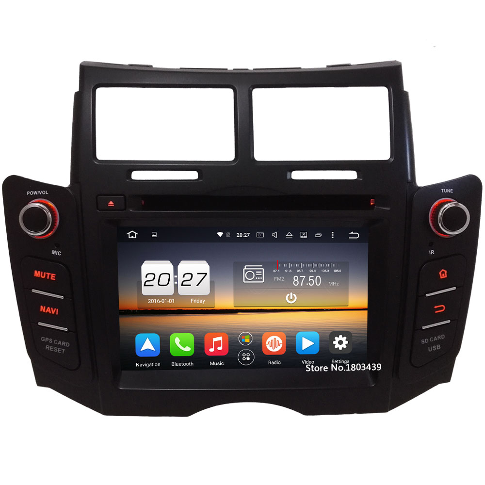 Octa Core WIFI Android 6.0 4GB RAM 32GB ROM 4G DAB+RDS AUX Car DVD Player Radio Stereo For TOYOTA YARIS 2005-2011 GPS Navigation цена