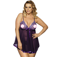 EW2073 Ohyeahgirl Popular See Through XL 6XL Plus Size Lingerie Hot Selling Lace Night Dress High