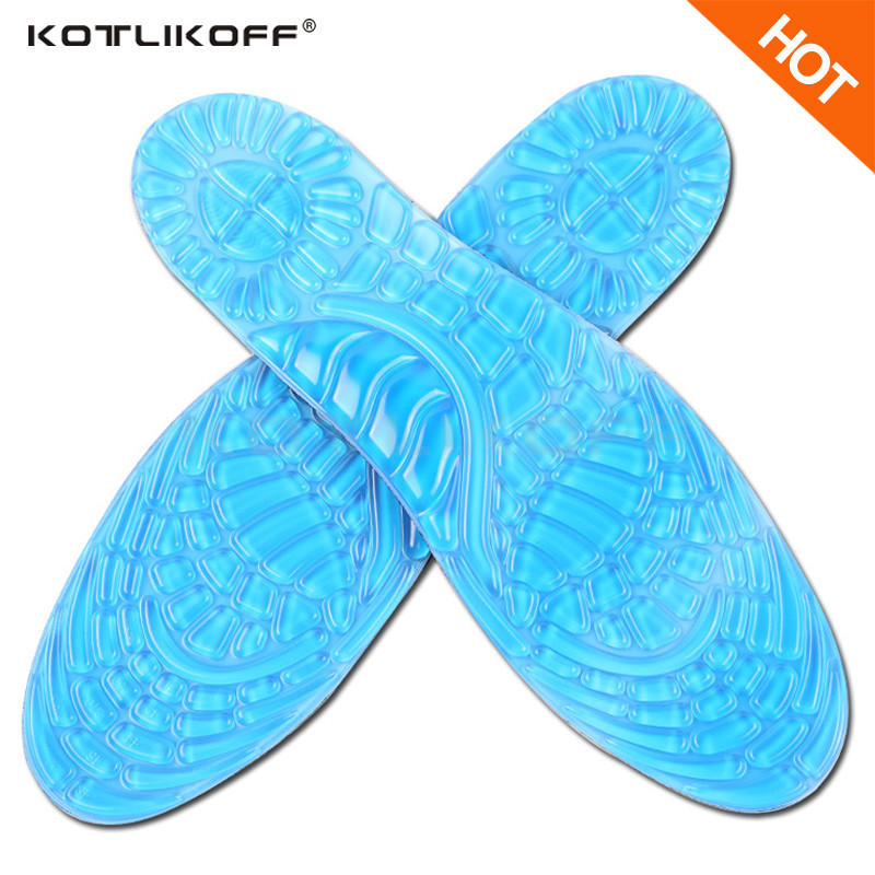 KOTLIKOFF Gel Silicone Sports Insoles Women Men Shoes insole Pad Orthopedic Massage Damping Deodorant Military Soft Comfortable silicone insoles elastic damping cushion insole sport health men s lady pain relief military soft insole foot pad 2016