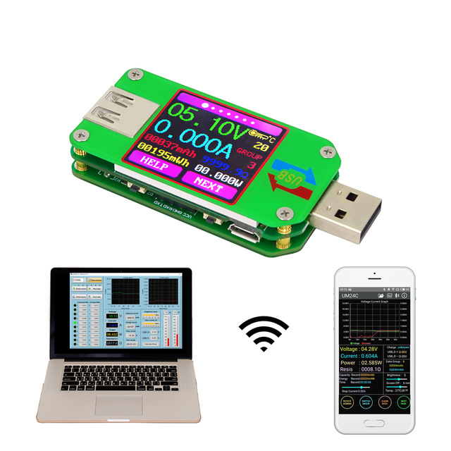 THGS RD UM24C for APP USB 2.0 LCD Display Voltmeter ammeter battery charge voltage current meter cable resistance Tester