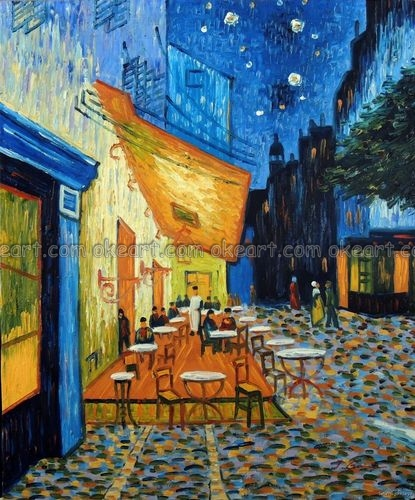 100 Pintado A Mano Terraza Del Café En La Noche Famoso Van
