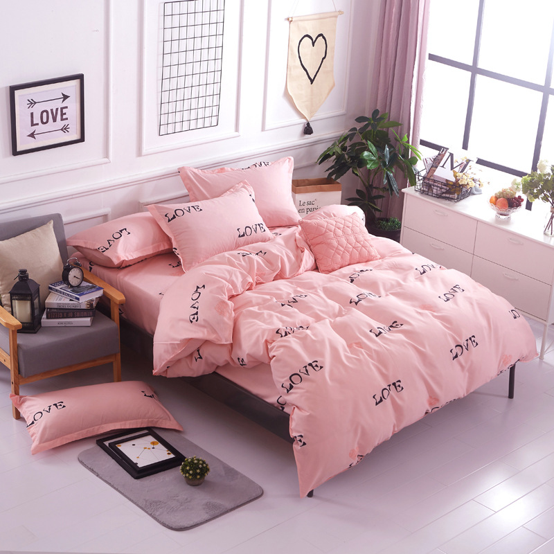 hotel comforter set love you style of king queen Singl <font><b>size</b></font> 4pc / 3pc bedding sets bedclothes quilt cover <font><b>bed</b></font> sheet pillowcases