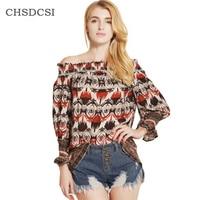CHSDCSI Women S Shirt Sexy Off Shoulder Flower Blusa Feminina Print Chiffon Women Blouse Casual 2017