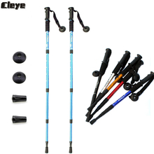 JoShock Cleye Telescopic Trekking Poles - 2-pc Pack Adjustable Walking Sticks Aluminum Four-Joints Straight Handle Pole