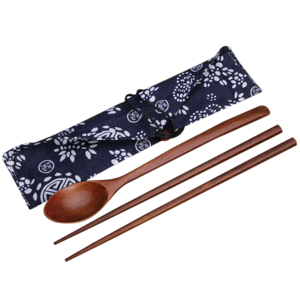 2017 Portable Wooden Chopsticks & Spoon Cutlery Sets Travel Dinnerware Suit Environmental Wood Tableware with Cloth Pack Gift