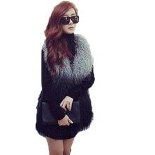 Women Vest Vintage Style Korean Long Hair Faux Fur Vest Faux Woolly Fur Coat Grey/Black Long Vest