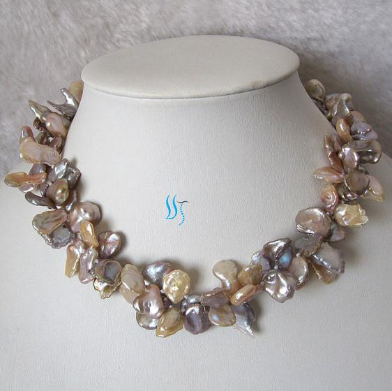 Luck Jewelry Stone 18 Inches 2 Rows 8-16mm Pink And Lavender Keshi Pearl  Necklace New Free Shipping