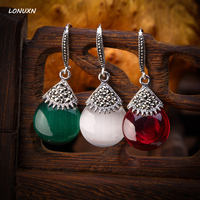925 sterling silver earrings vintage red corundum sector water drop shape Natural semi precious stones red lady girlfriend gift