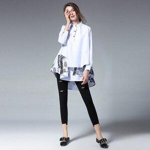 Image 3 - [EAM] blusa holgada de manga larga para primavera y otoño, camisa holgada de color liso con soporte empalmado, talla grande, S05600L, 2020