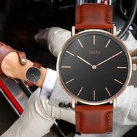 Addies אופנה פשוט גברים שעון נשים למעלה מותג שעונים מקרית Waterproof גברים קוורץ שעונים קלאסי עסקי עור שעוני יד-בשעוני קווארץ מתוך שעונים באתר