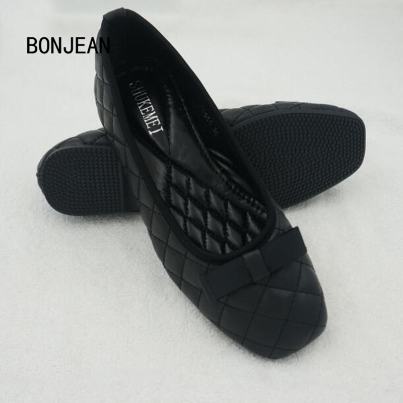 Women Flats Casual Bowtie Loafers Sweet Women Shallow Non-Slip Shoes Solid Summer Style Square Toe Shoes Woman Plus Size 35-42 plus size 34 41 black khaki lace bow flats shoes for womens ds219 fashion round toe bowtie sweet spring summer fall flats shoes