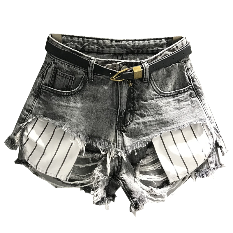Hole Tassel Short Jeans Women Summer Harbor Flavor Double Edging Wide Leg Denim Shorts