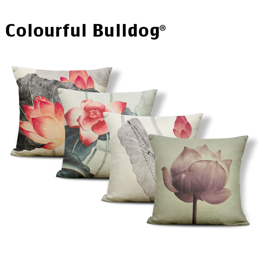 Ink Painting Cushion Cover Chinese Style Pillow Case Fairy Table Couch Baby Birth Gifts Toss Pillow Red Small Polyester / Cotton ...