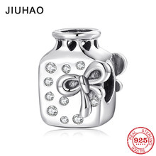 Sterling Silver 925 Love beautiful lady Bow tie Perfume Bottle CZ beads Jewelry making Fit Original Pandora Charm Bracelet(China)