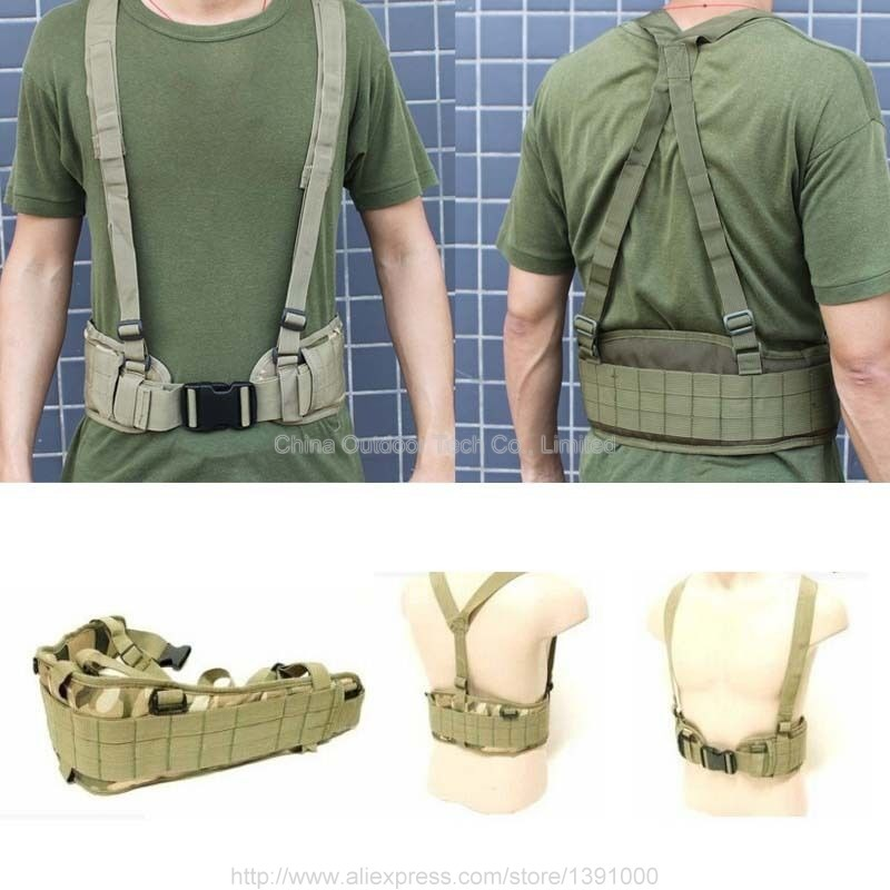 Tactical Gear MOLLE Padded Waist Belt Mens Airsoft Combat Suspender Adjustable Hunting Waist Support Army Military Belts стоимость