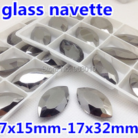 7x15mm 17x32mm Jet Hematite Color Pointback Navette Glass Cystal Fancy Stone For Jewelry Making DIY Decoration
