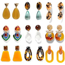 Girlgo 25 Designs Za Resin Dangle Drop Earrings For Women Multicolor Crystal Pendant Statement Earrings Maxi Christmas Jewelry