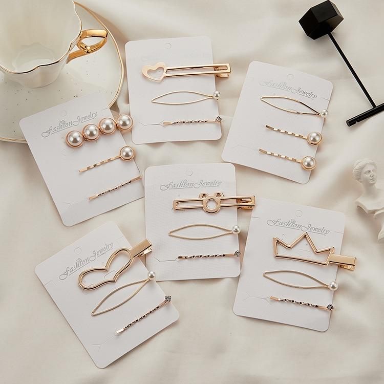 KMVEXO 2019 Women Heart Crown Barrettes Set Pearl Hair Clip Pins Gold Fashion Jewelry Mujer Headwear Wedding for Girls Ornaments