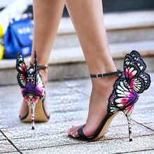 New Color Print Embroidered Butterfly Sandals Wings Pumps Party Wedding High Heels Ankle Strap Dress Women Banquet Shoes